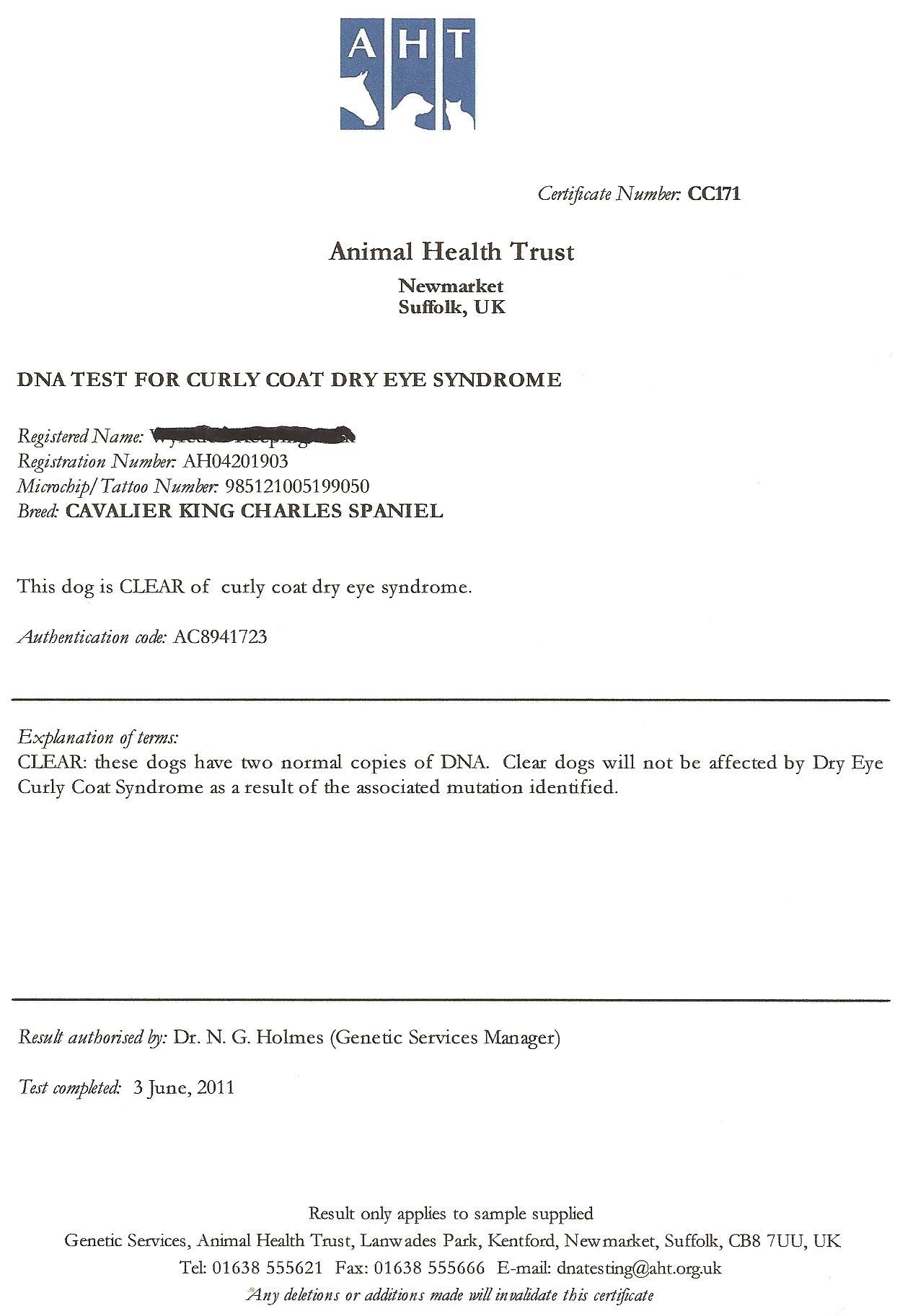 dog health certificate