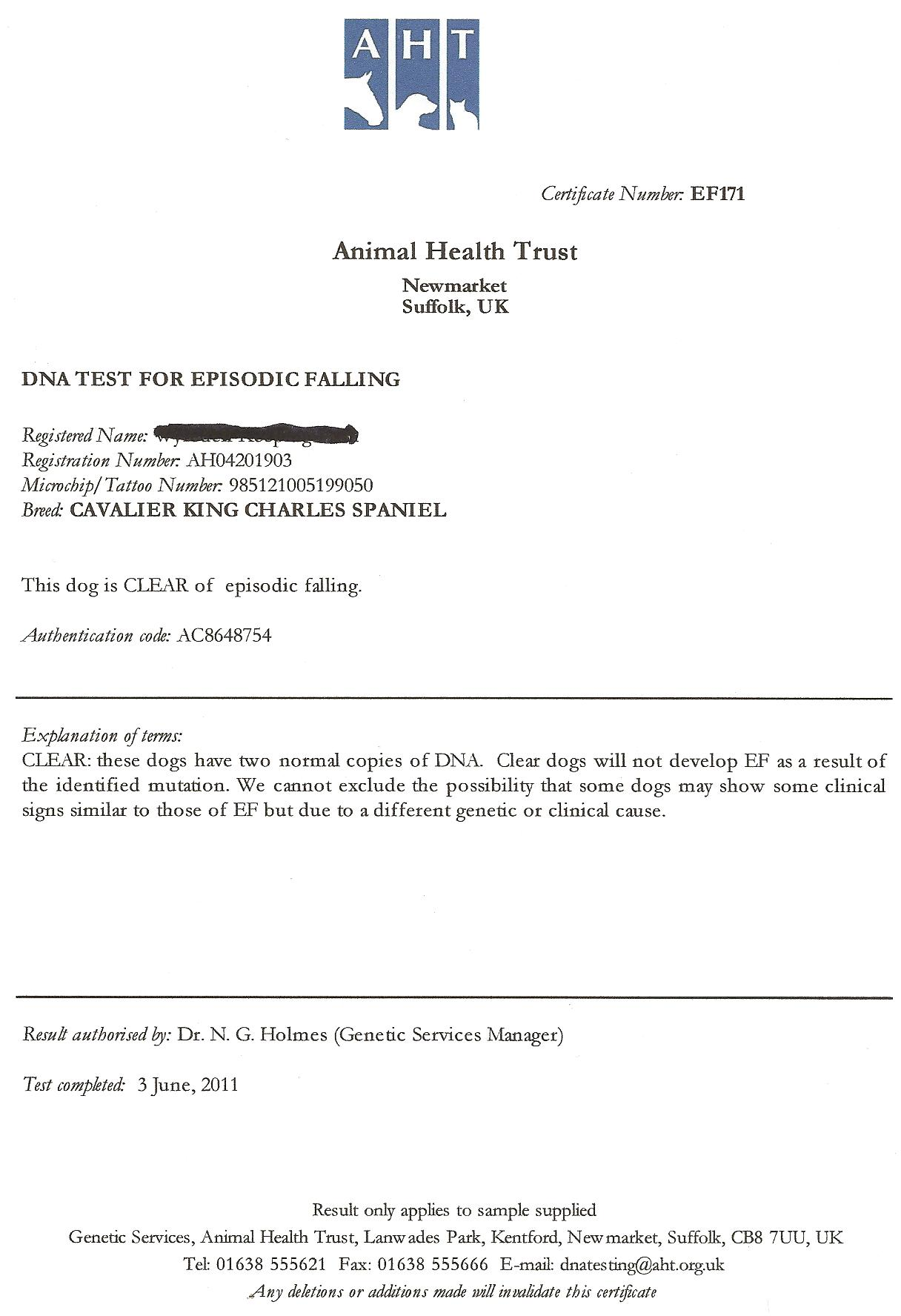 Cavalier health the companion cavalier king charles spaniel club certificate for episodic falling syndrome geenschuldenfo Gallery